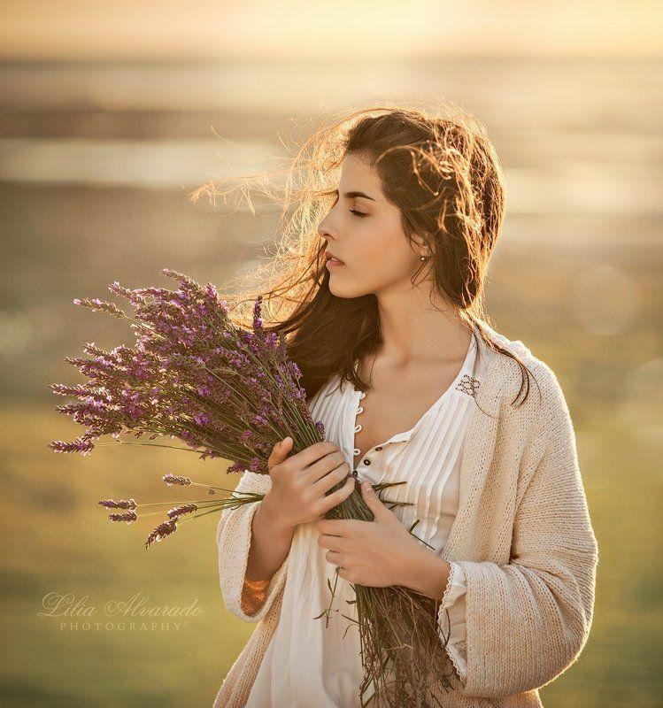 girl, female,soul,brunette,wind,lavender,sun,light  Sea Breezephoto preview