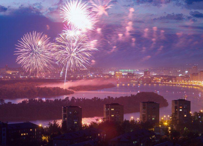 салют фейерверк омск город пейзаж россия  300-летие Омскаphoto preview