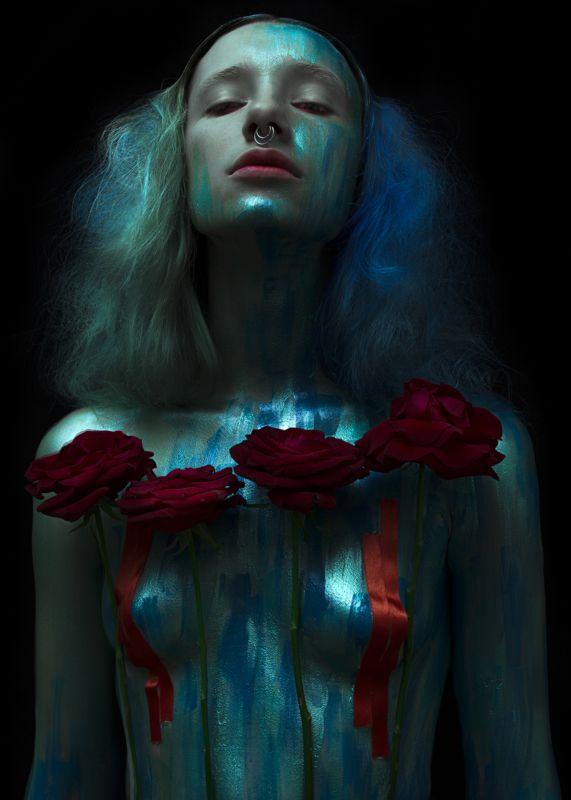 Art photo, Blue, Bluehair, Body, Female, Fine art, Portrait, Краски, Портрет, Портрет девушки, Синий, Тело M E R M A I Dphoto preview