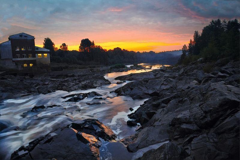 шуя,карелия,закат Закат на реке Шуяphoto preview