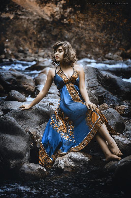 Речка, девугка, камни, горы, природа, платье, вода Anastassiyaphoto preview