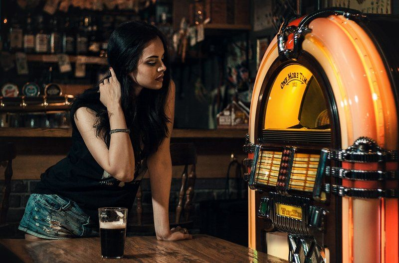 girl,beauty,bar,beer,pub,jukebox,music Honky tonkphoto preview