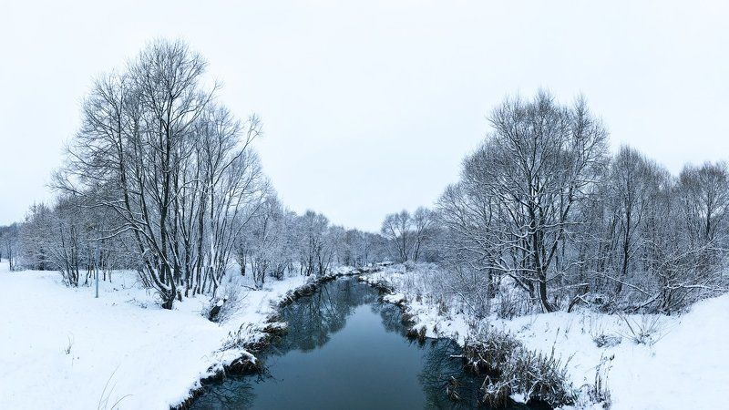 Москва Свиблово Зима Река Долина Холодно  Долина р. Чермянкиphoto preview