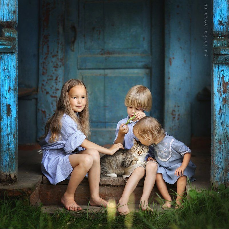 childhood, family, cat, summertime, kid, child, friend ***photo preview