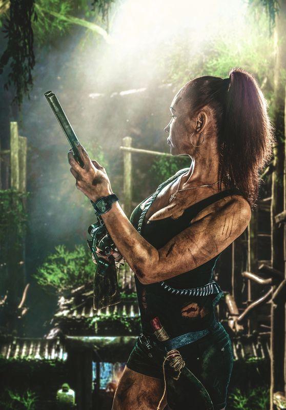 Художественная ретушь, джунгли, оружие, портрет Lara Croftphoto preview
