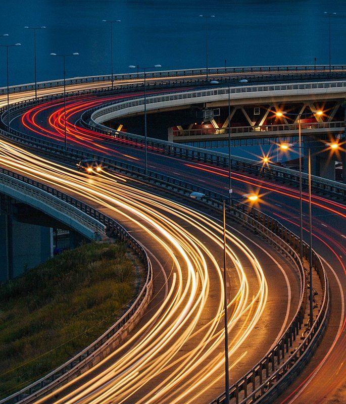 вечер, дорога, мост В суетеphoto preview