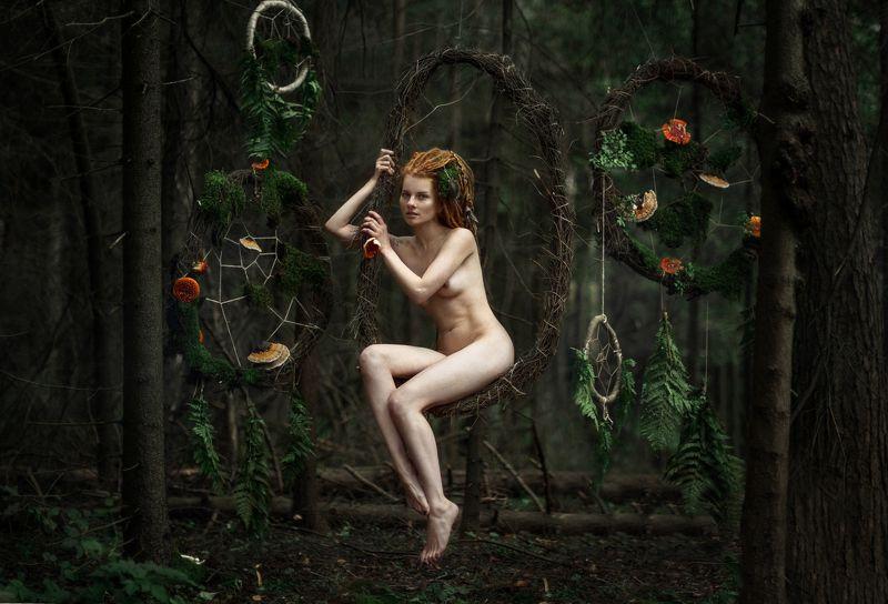 девушка портрет сказка лес лицо глаза волосы ню photo preview