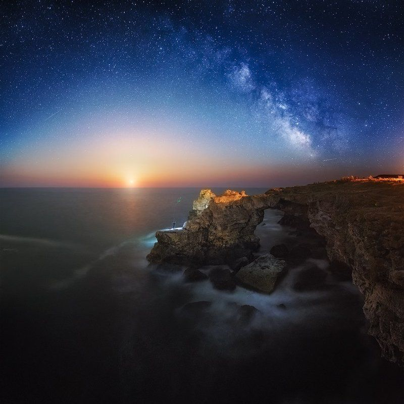 night, Bulgaria, moon, stars, fisherman, milky way The archphoto preview