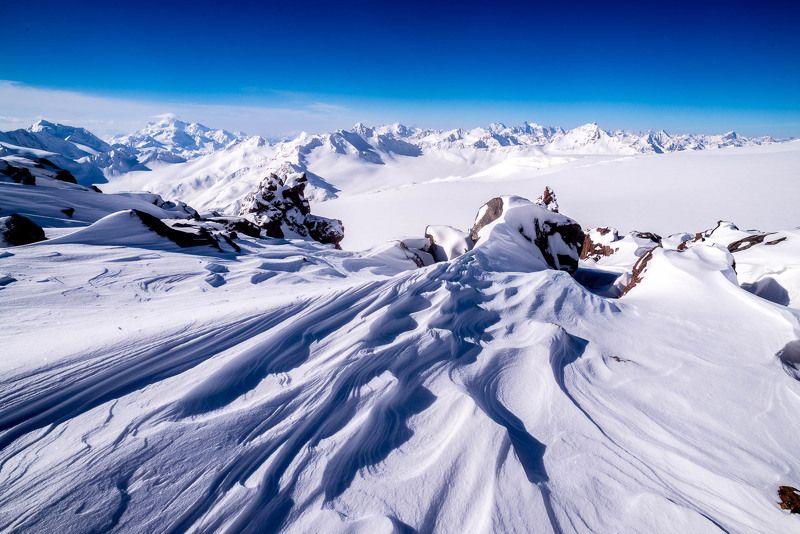 Эльбрус, горы, снег, узоры Узоры снега и ветраphoto preview