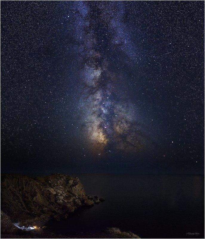 Галактика, Звездное небо, Звезды, Камни, Млечный путь, Море, Морской пейзаж, Ночной пейзаж, Ночь, Панорама, Пляж, Скалы, Черное море ...photo preview