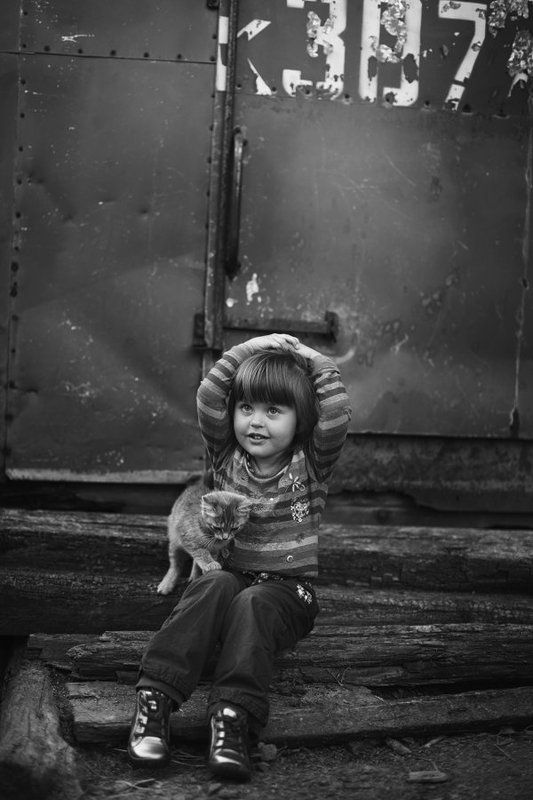 child, childhood, cat, girl ***photo preview