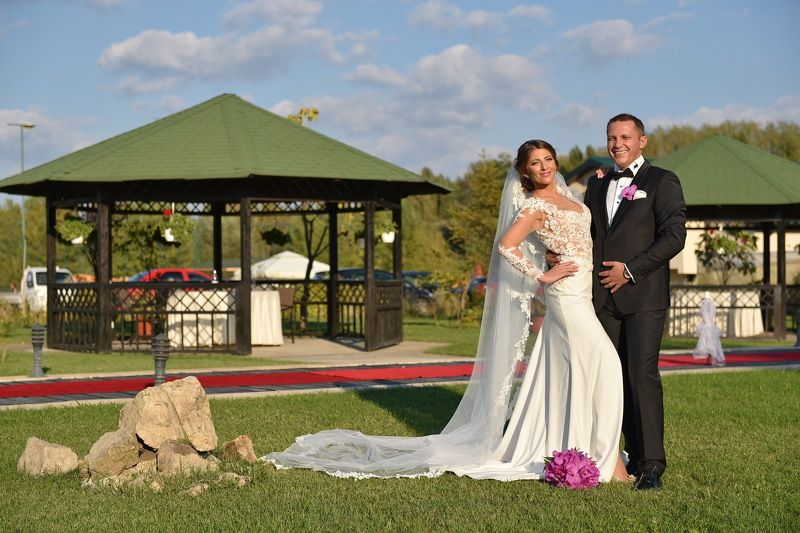 groom, bride, nature, arrangement, sky, clouds, married Wedding Dayphoto preview