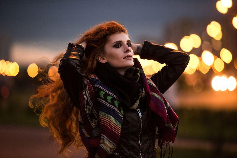Evening, Face, Light, Orange, Portrait, Redhead, Street, Вечер, Портрет, Рыжая, Улица Evening lightsphoto preview
