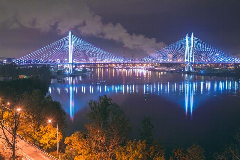 фото вантовый мост ночью команда готова