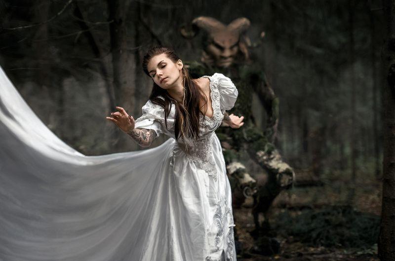сказка, лес, девушка, мистика, арт, волосы, фавн, ужасы photo preview