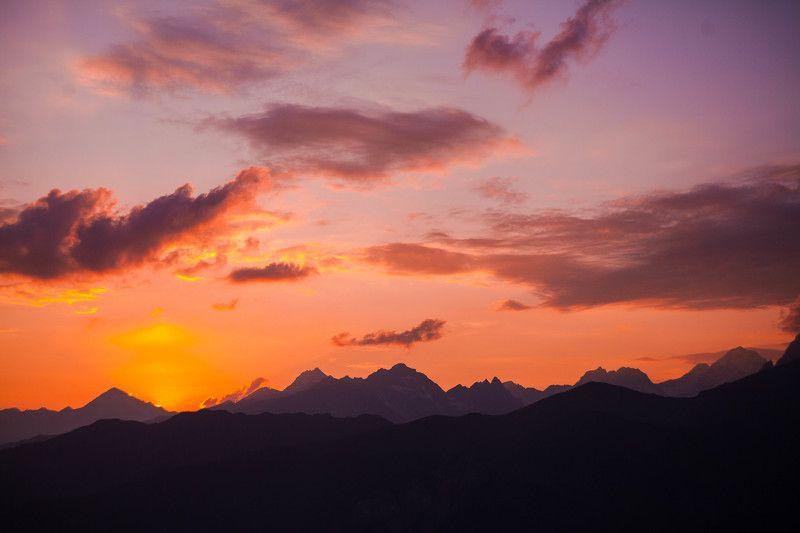 закат, грузия, небо, горы, облака, оранжевый Закат в Сванетииphoto preview