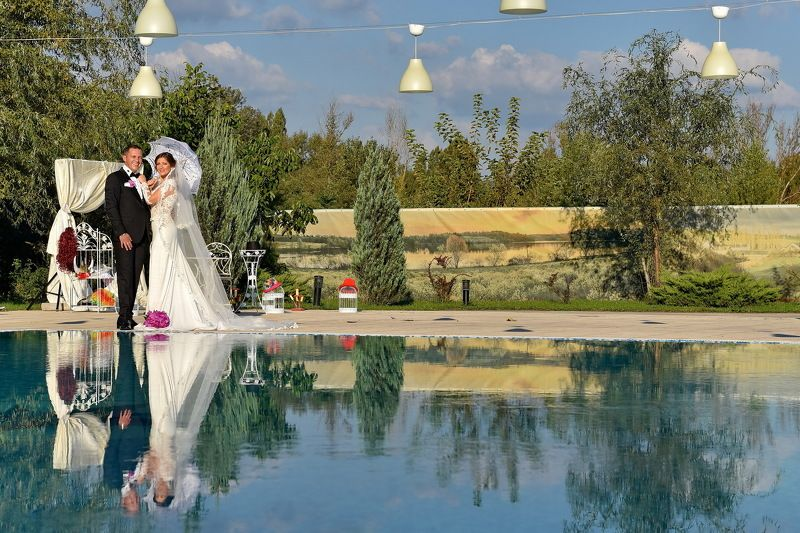 bride, groom, nature, sky, clouds, colors, married, reflection, water Wedding Dayphoto preview