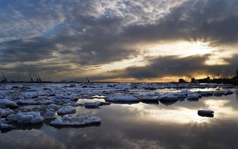 архангельск, ледоход, северная двина, половодье, весна, вечер, закат Ледоходphoto preview