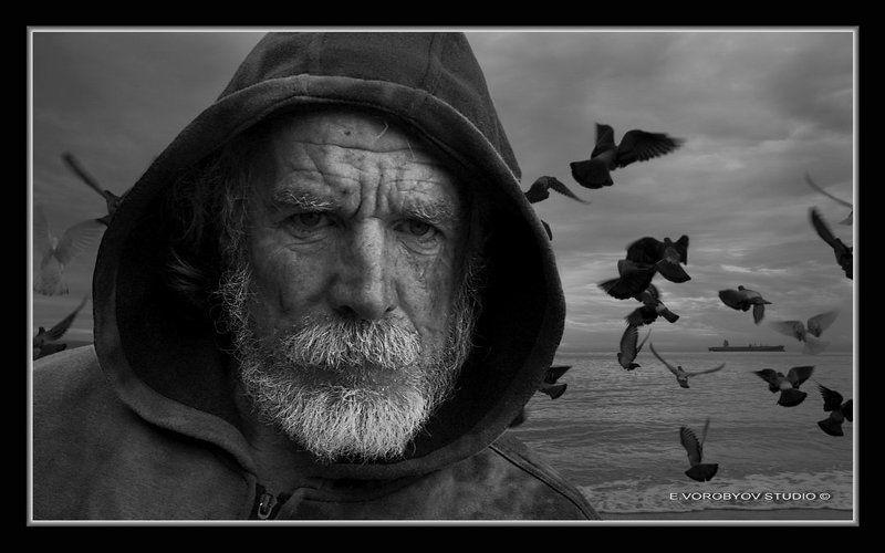 портрет, море Старик и мореphoto preview