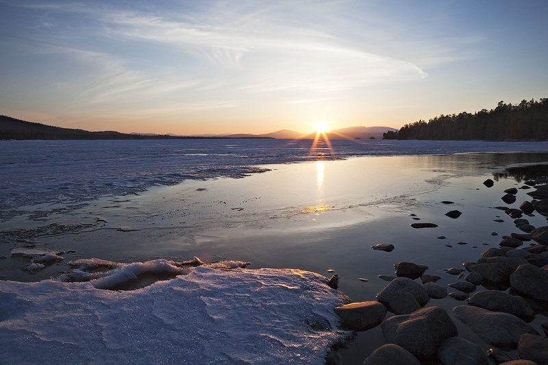 природа,пейзаж,весна,север,озеро Майский вечер..о.Колвицаphoto preview
