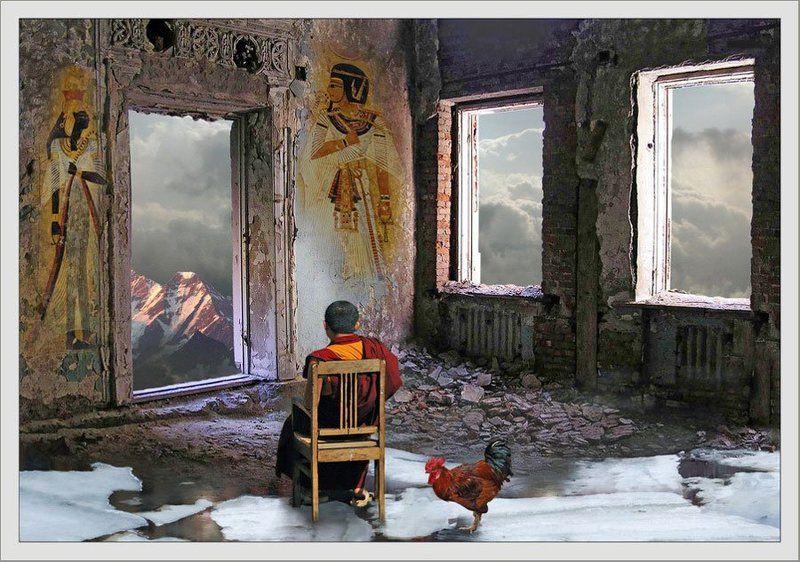 монах, горы, комната, время, движение, вечность Созерцаниеphoto preview