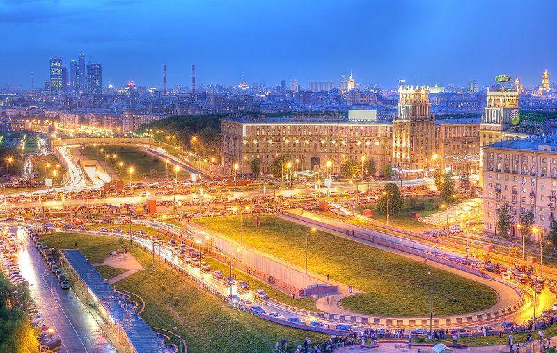 крыша, крыши, город, москва, вечер, площадь, гагарина, победа, праздник Площадь Гагарина 9 маяphoto preview