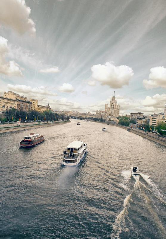 город, москва, река, небо, \