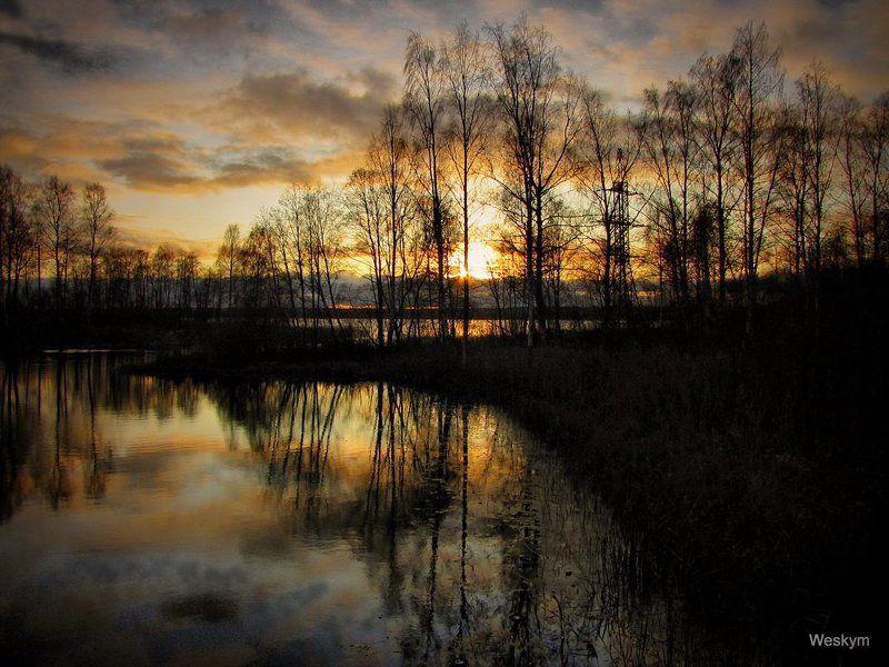 природа,пейзаж Закат на озере.photo preview