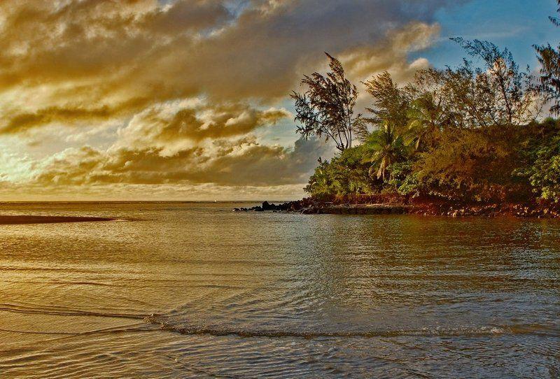станко, берег, море, небо, гавайские, острова Предзакатноеphoto preview