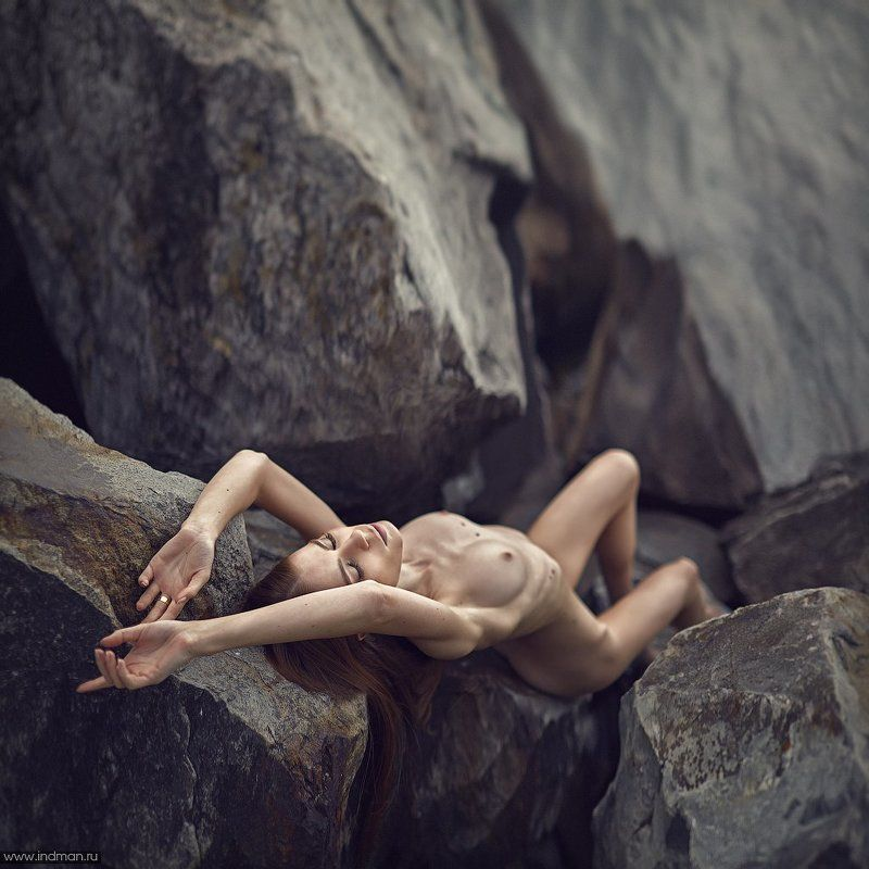 girl, nude, beach, stones, water ...photo preview
