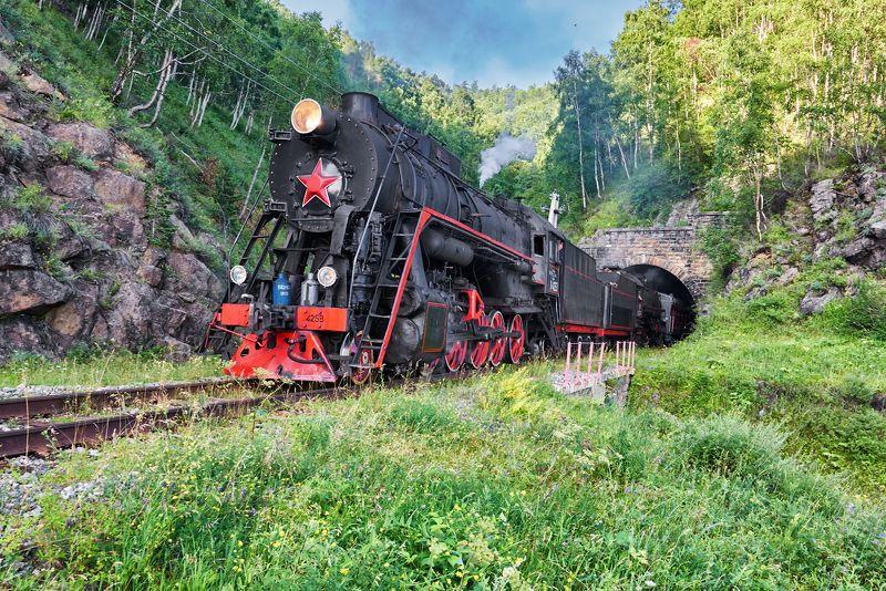 Паровоз на выезде из тоннеляphoto preview