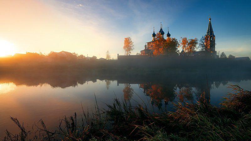 Утро, лодка, церковь, тишина, пейзаж, природа Октябрь, немного тишины...photo preview