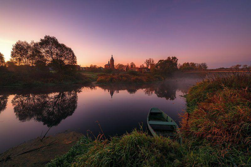 утро, рассвет, зарево, река, лодка, весла, церковь, природа, пейзаж Еще немного тишины...photo preview