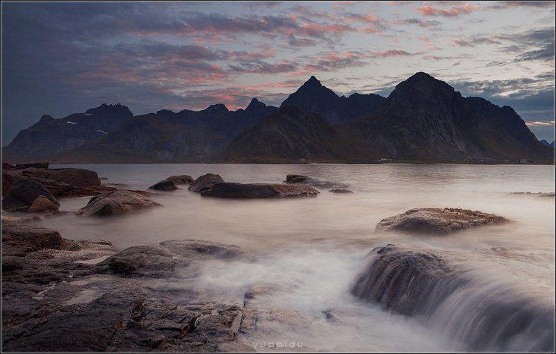Горы, Лофотены, Норвегия, Облака Закат с видом на горыphoto preview