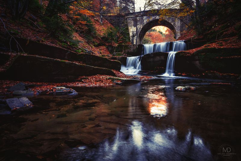 Autumn, bridge, waterfall photo preview