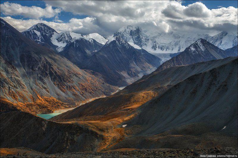 алтай, горы, горный алтай, катунский хребет, перевал кара-тюрек, белуха, аккем, осень, аня графова Аккемphoto preview