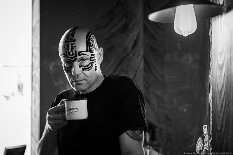 man,bodyart,makeup, face,cup,black and white,noir,dark One more cup of coffeephoto preview
