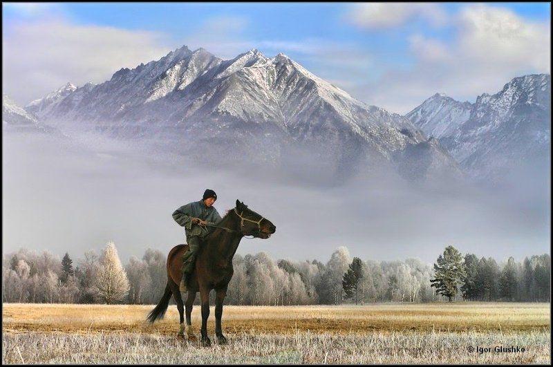 всадник, горы, саяны, бурятия, туман, изморозь Дозорный Тишиныphoto preview