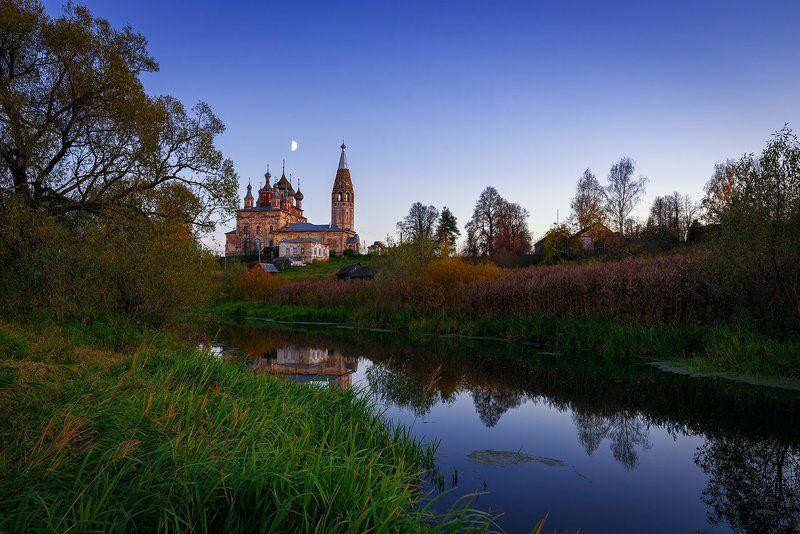 Вечер, церковь, река, природа, осень, октябрь Светит месяц, светит ясный...photo preview