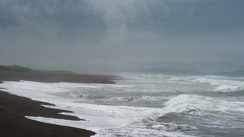 камчатка, лето, тихийокеан, волны, непогода, халактырка, халактырскийпляж photo preview