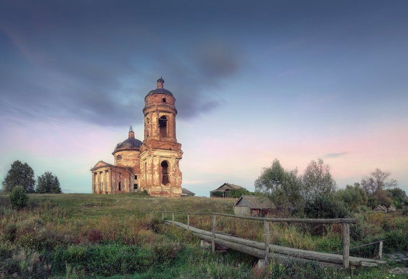 Вороновка, храм, пейзаж, Ульяновская область, закат, вечер Вороновский храм..photo preview
