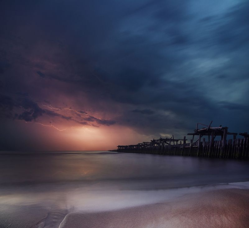 Lithuana, Baltic sea, storm, clouds, water, long exposure *photo preview