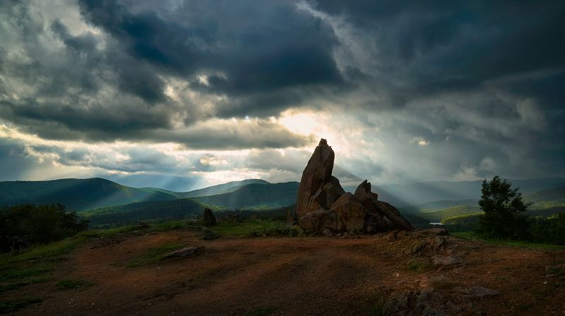 light, rock, landscape, ray, ray of light, bulgaria, starosel, clouds The contents\' Lightphoto preview