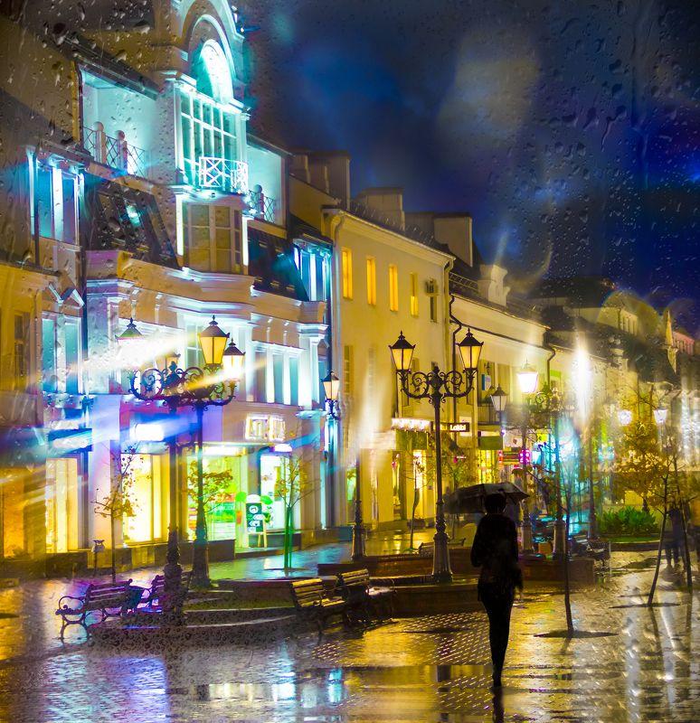 город, ночь, дождь, зонт, огни, Дождь в городе.photo preview