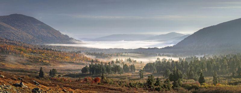 пейзаж, панорама, утро, рассвет, горы, Хакасия, Золотая Долина, Кузнецкий Алатау Утро в Золотой Долине..photo preview