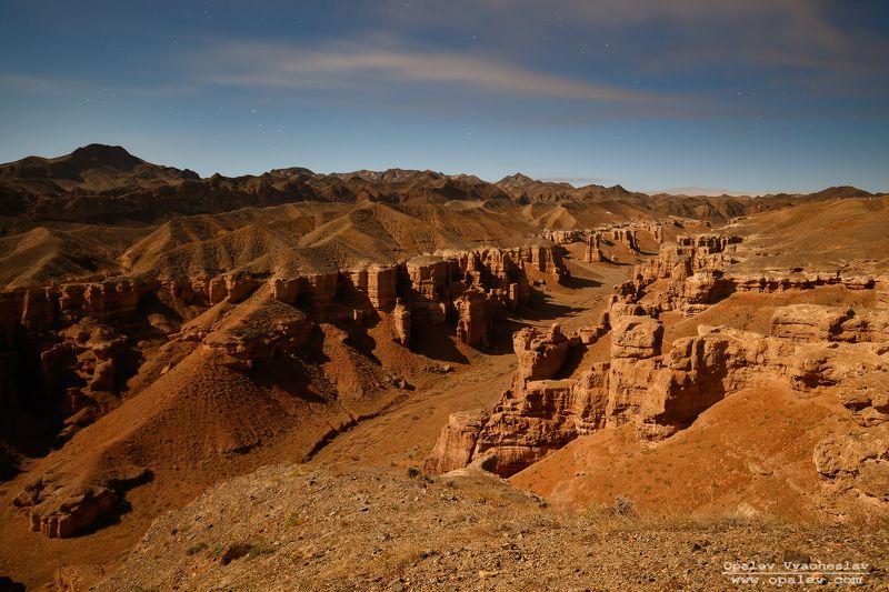ночь, вечер, звезды, Казахстан, Чарын, Чарынский, каньон, горы, степь Чарынский каньон в лунном светеphoto preview