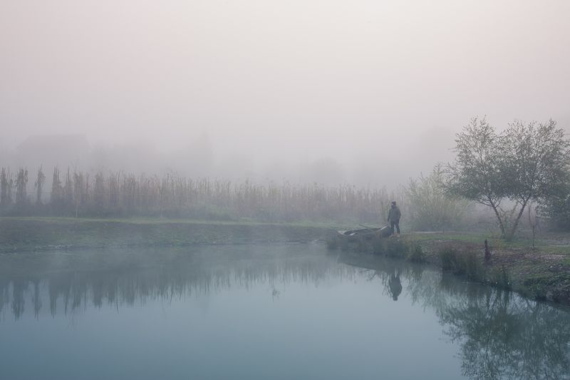 природа, туман, утро, озеро, вода Утроphoto preview