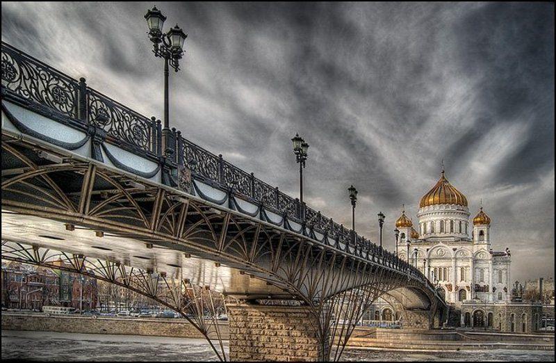 москва, патриарший мост, храм христа спасителя, хдр, hdri, dmitr Патриарший мост и ХХСphoto preview