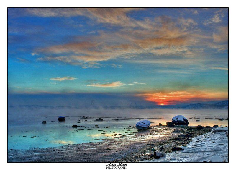 малютин максим, мурманская область, белокаменка, зима, мороз Восход Заполярного солнцаphoto preview