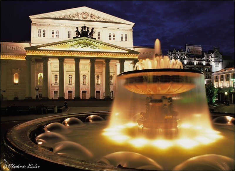 москва город ночь свет фонтан театр Большой Театрphoto preview